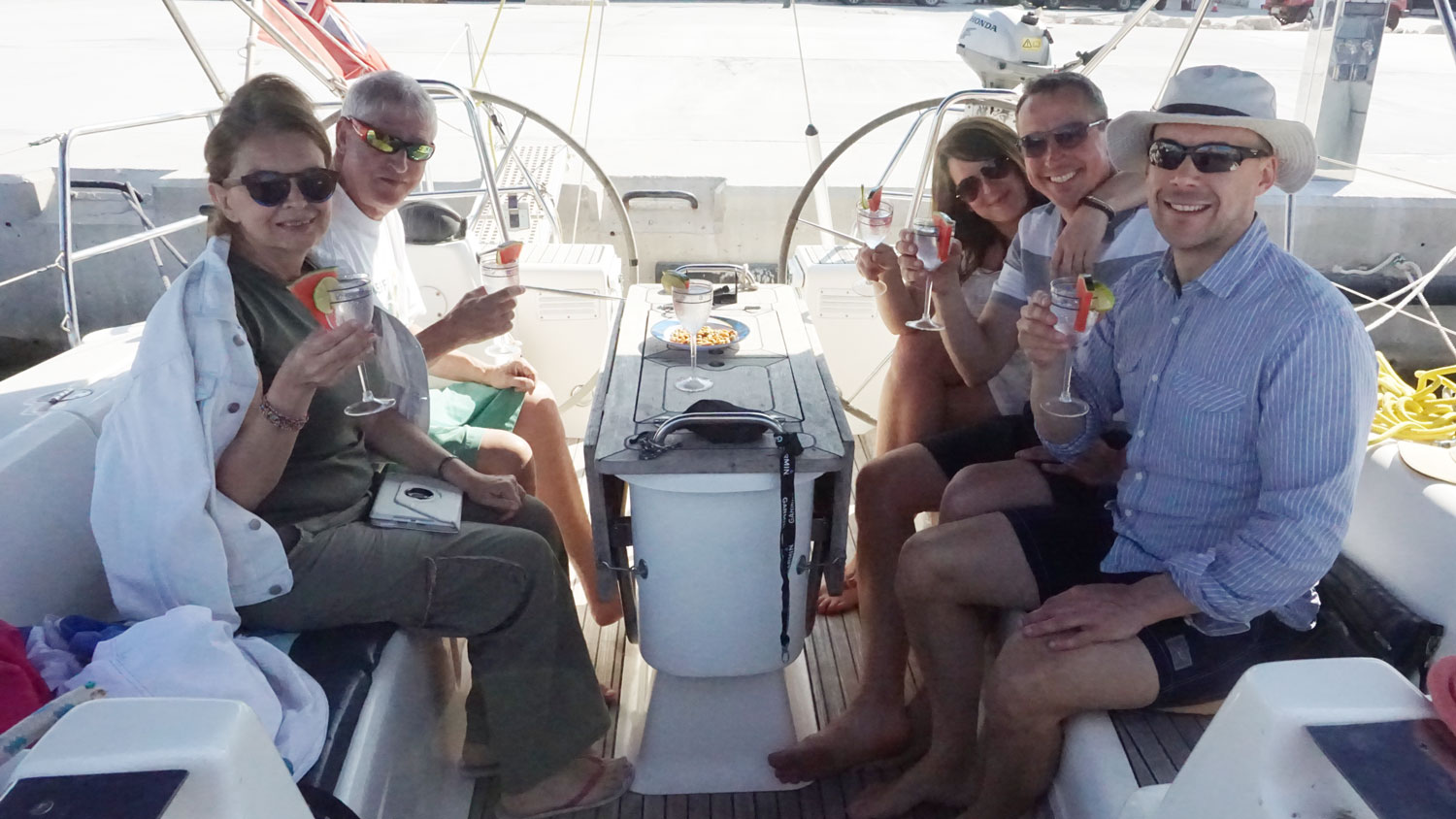 Homemade gin and tonics on the boat after docking with the crew - mmm!