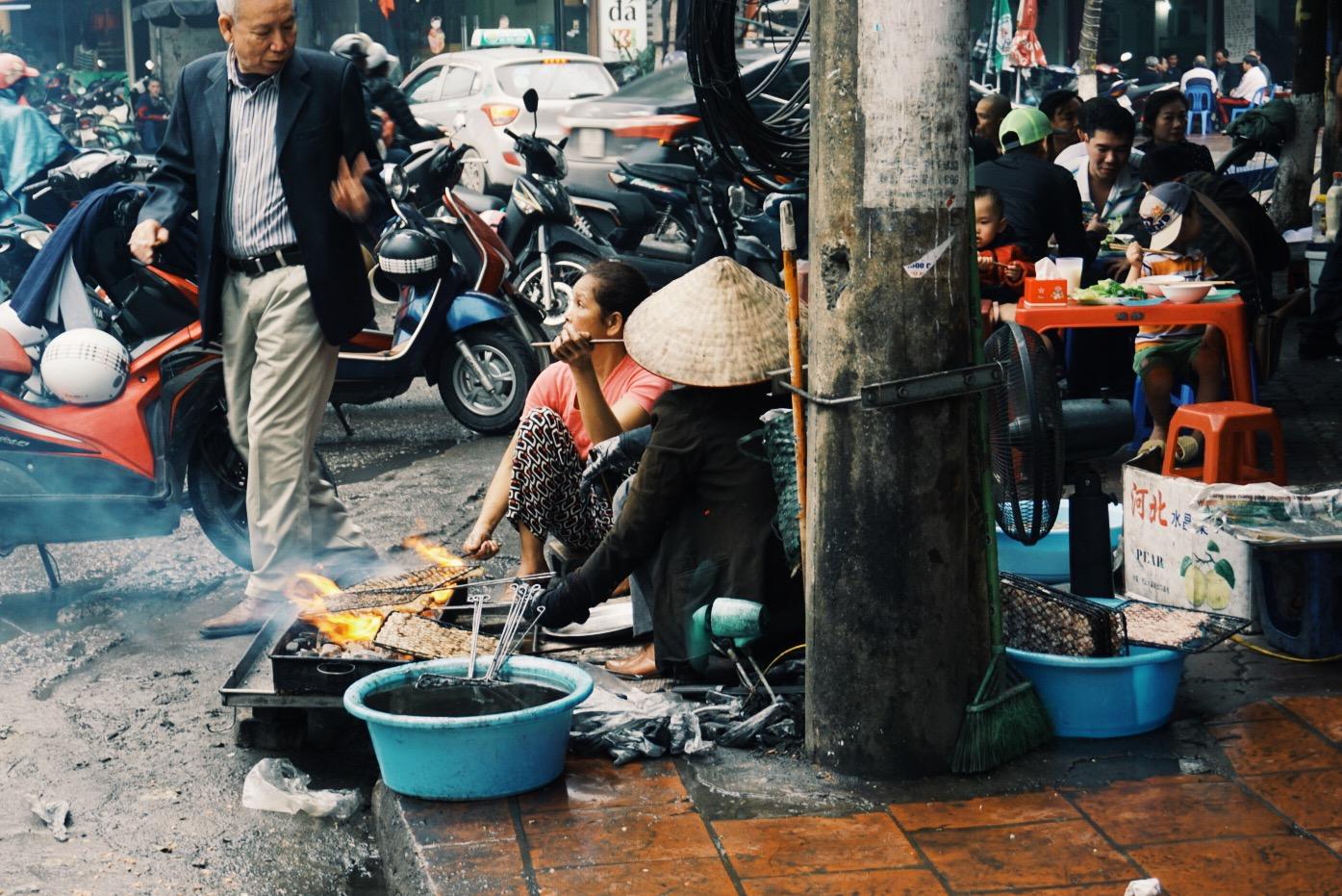Everything happens on the sidewalks -Hanoi