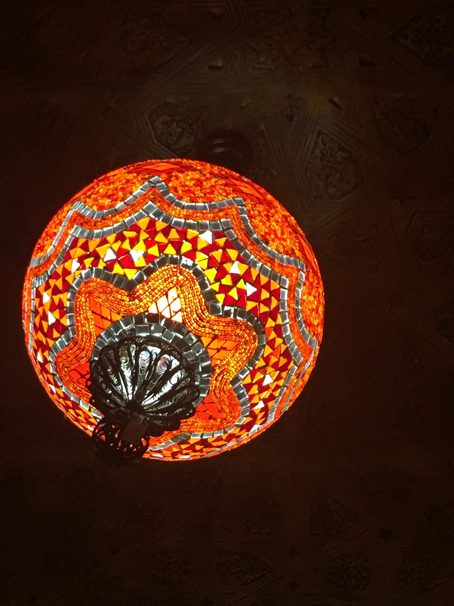 Beautiful Moorish lamps in Malaga, Spain, November
