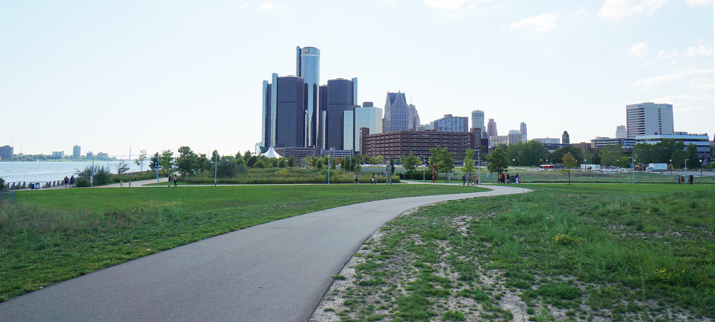 The Dequindre Cut path goes to the Riverwalk, where you can take it to the landmark GM buildings
