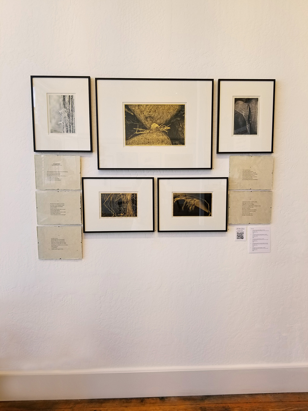 """The grouping of five gold leaf images for Rosemarie Dombrowski's poem """"Synaptic Earth."""""""
