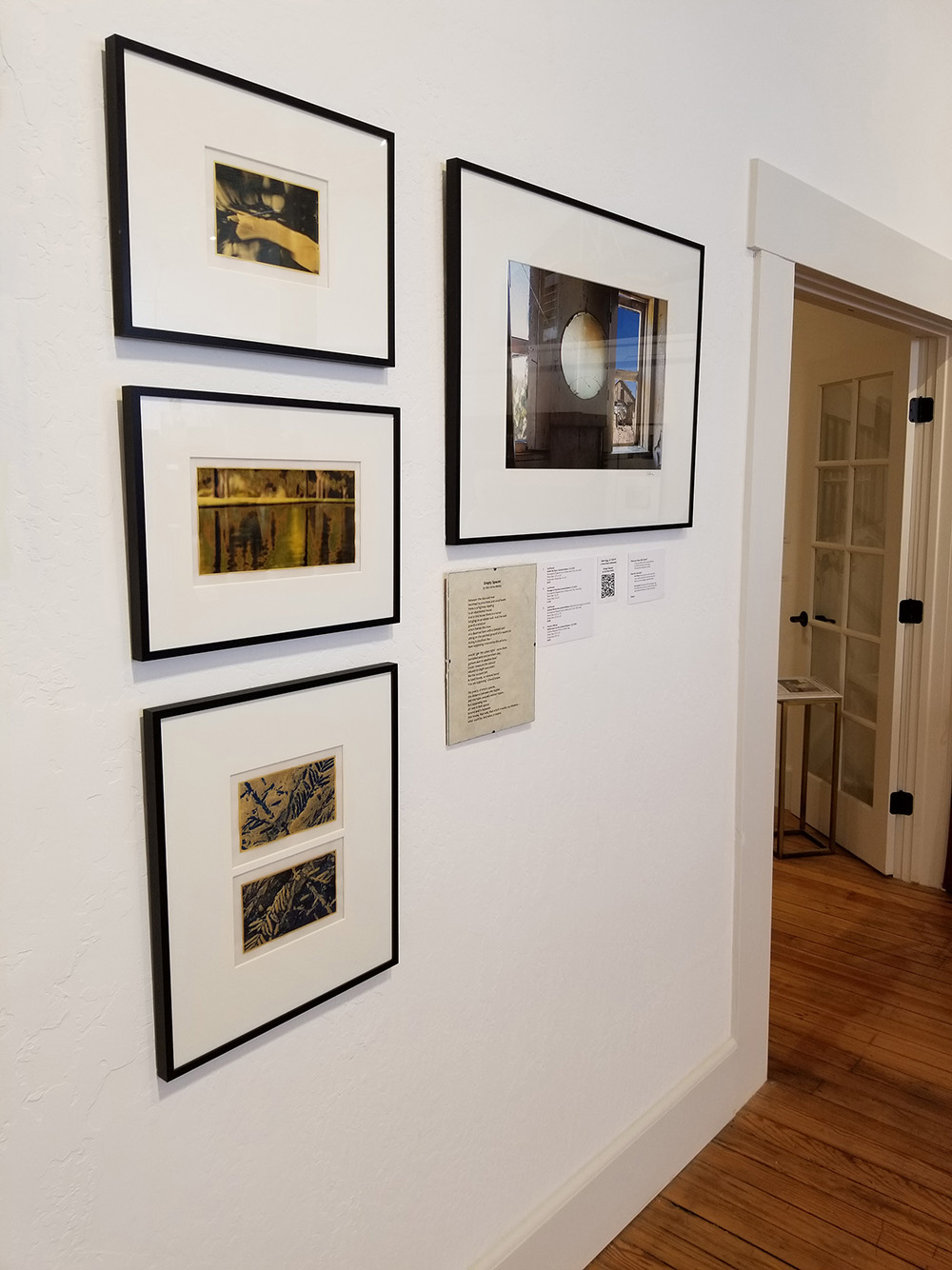 """For Lois Roma-Deeley's poem """"Empty Spaces,"""" Patrick's evocative mirror on the right told the literal story of the poem, and my three gold leaf pieces on the left spoke to Lois's underlying idea of negative space. The big difference in this group for me was using color."""