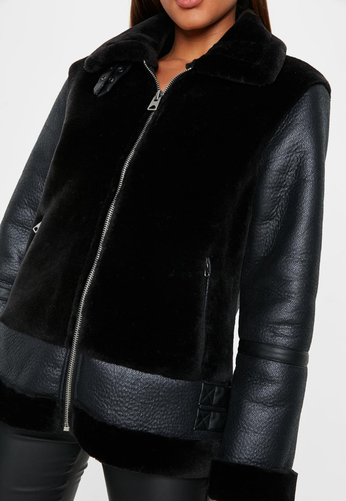 black faux fur ultimate aviator jacket