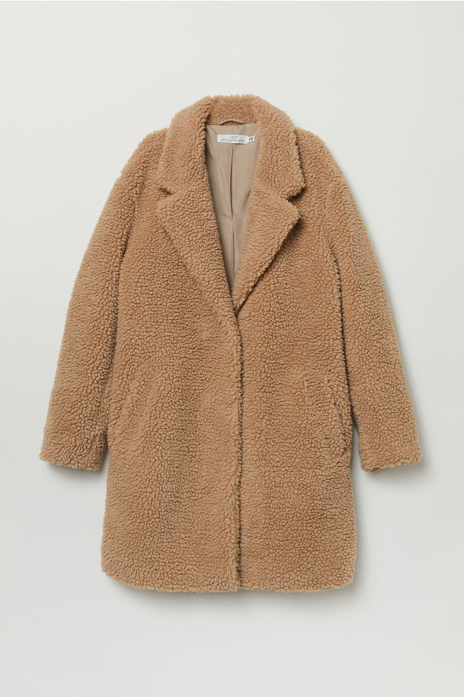 Beige Pile Coat - shop @h&m