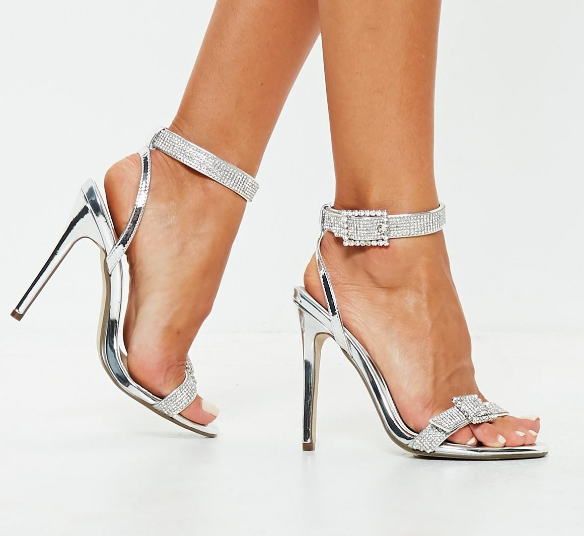 BARELY THERE SILVER EMBELLISHED HEELS