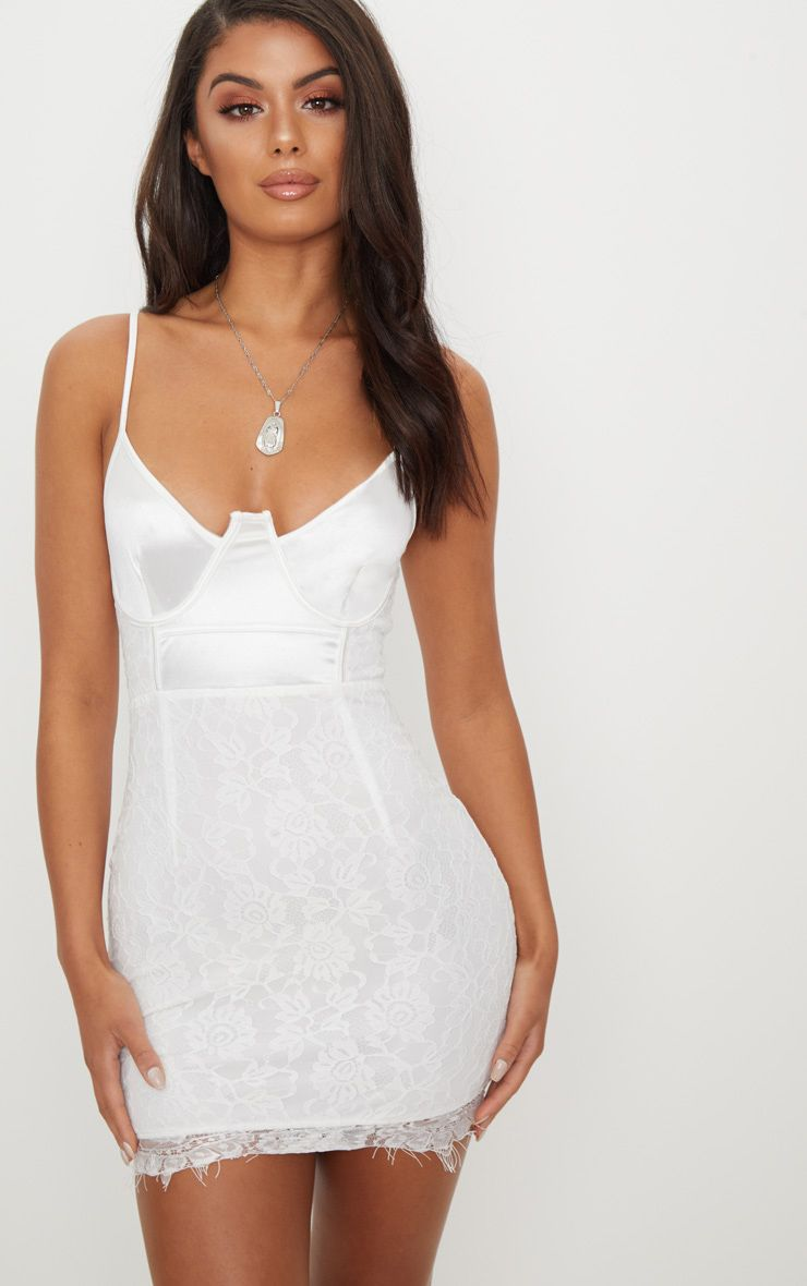 White Satin Bustier Dress