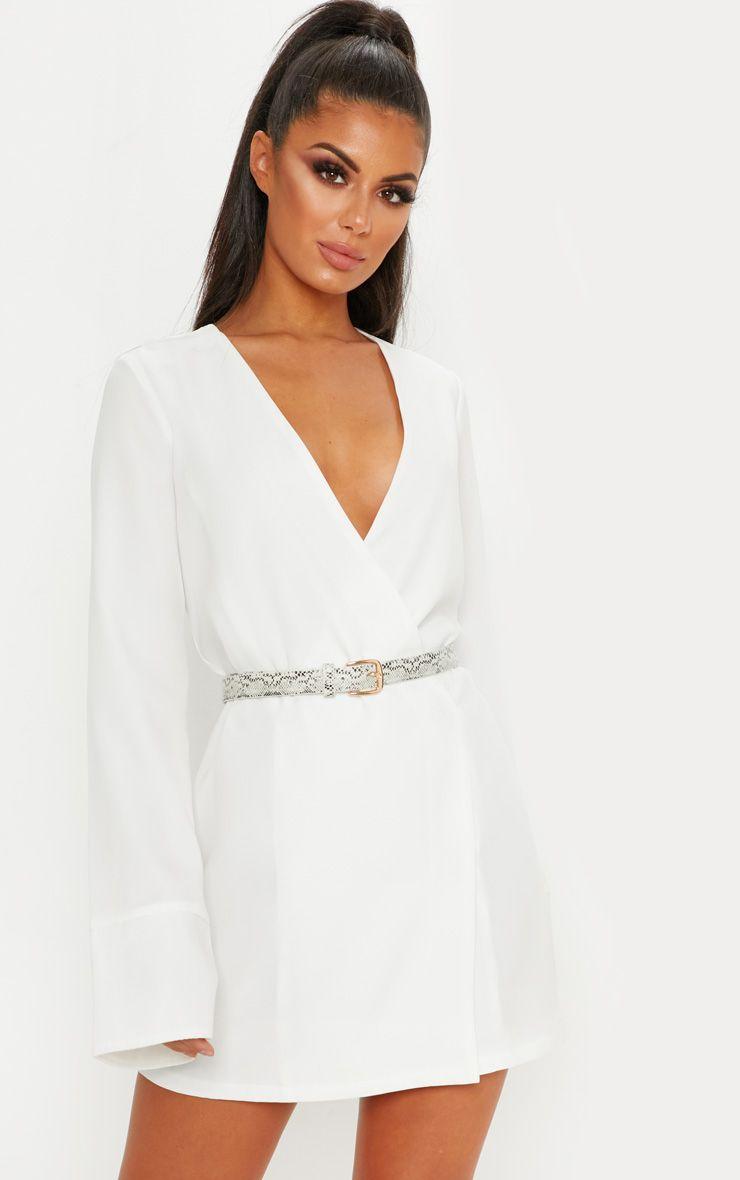 White Plunge Blazer Dress