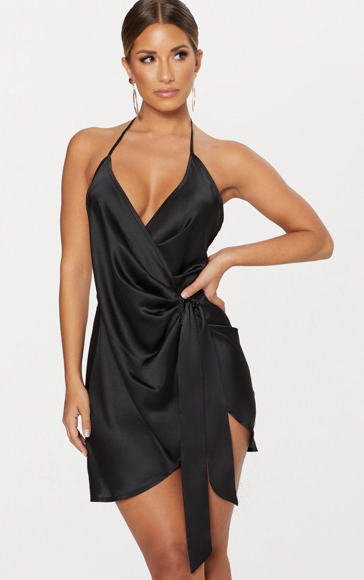 Black Satin Wrap Dress