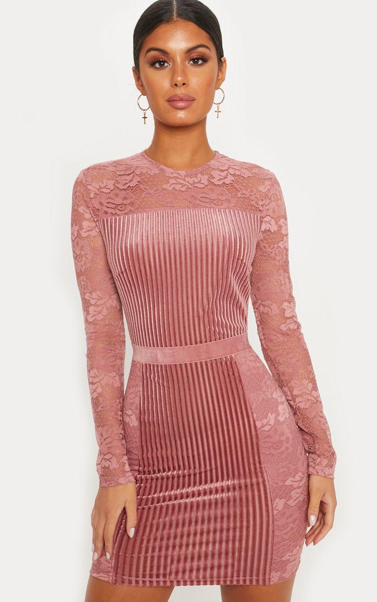 ROSE Velvet Lace Bodycon