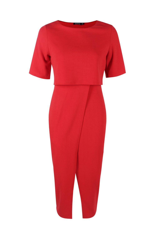 Layered Wrap Wiggle Midi Dress