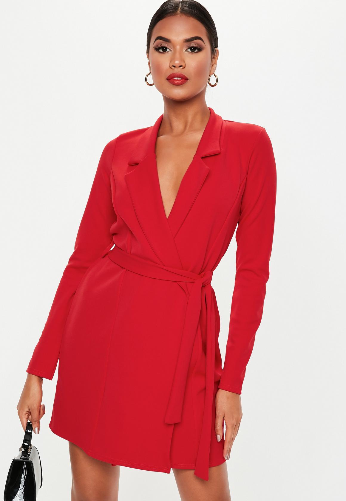Red Long Sleeve Blazer Dress @MISSGUIDED