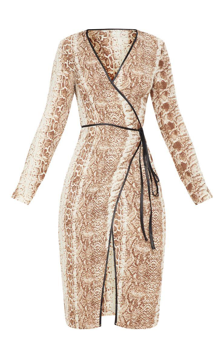 Snakeskin Print Wrap Midi Dress