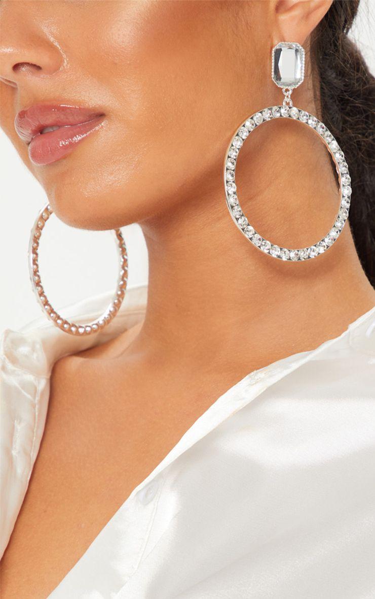 Diamante Hoop Earrings - @Prettylittlething