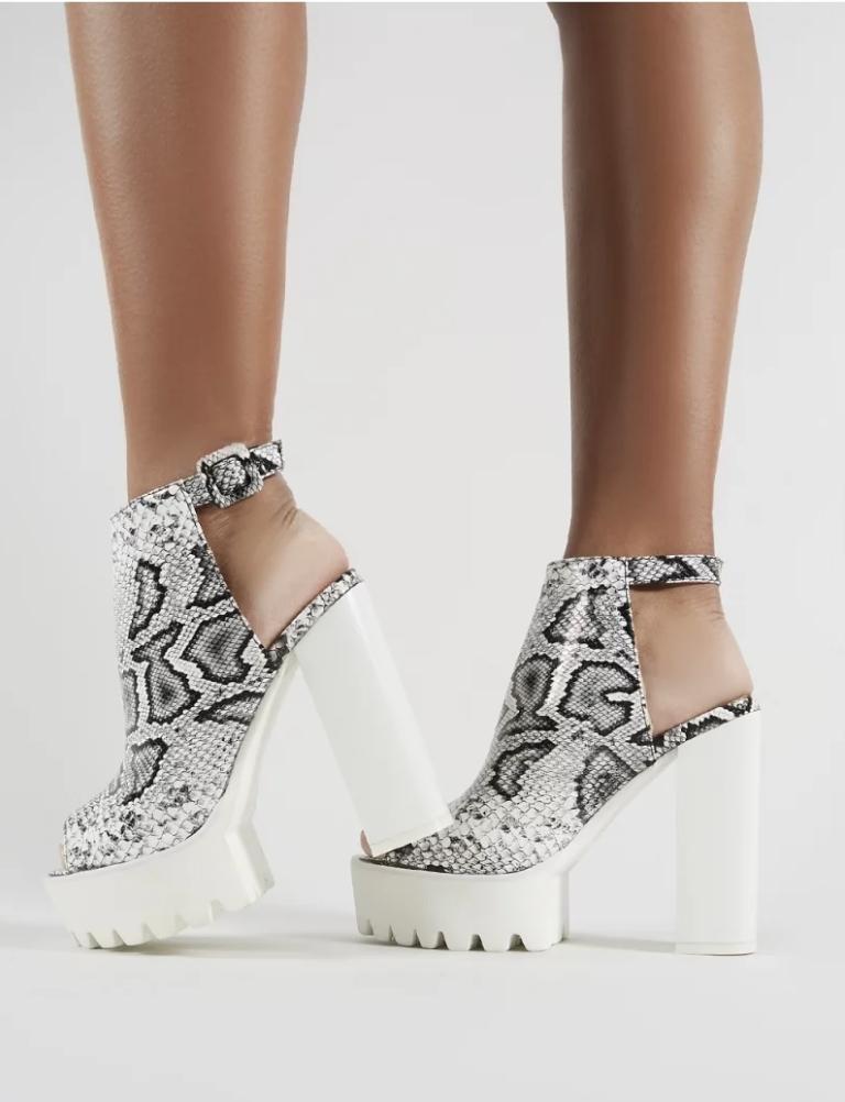 Block Heels In White Croc