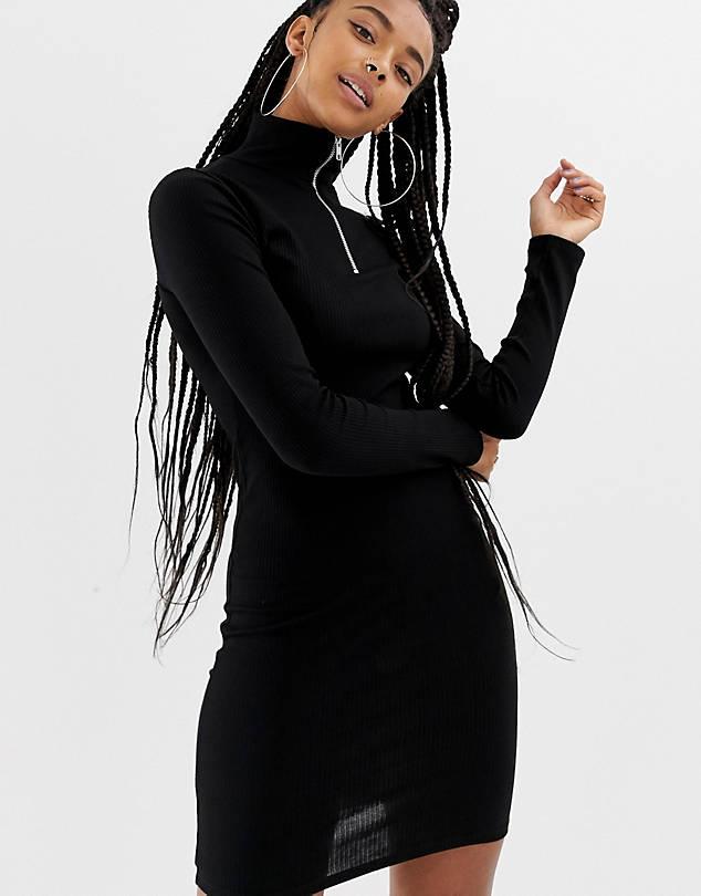 Bodycon Dress w/ Zip Front