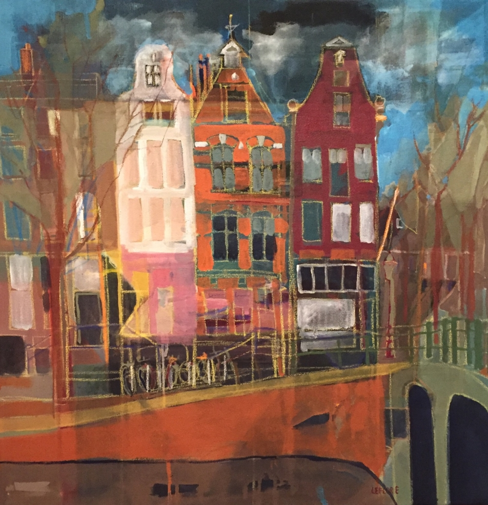 """Keizergracht - Acrylic with Pastel 30"""" x 30"""""""