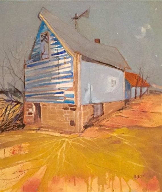 """Good Night Barn - Acrylic - 31"""" x 28"""""""