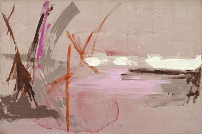 Pink Sky Pond 1960, oil on canvas from Berry Campbell Gallery
