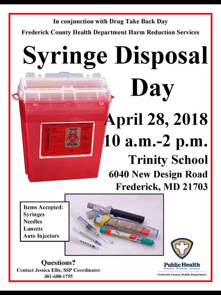 Frederick MD County Health Department Syringe Disposal Day Flyer