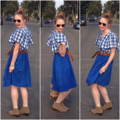 Vintage Blue Checkered Dress