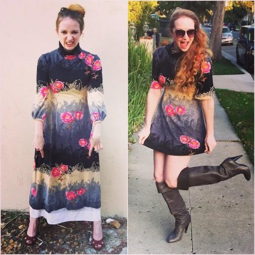 Black & Pink Floral Vintage Dress