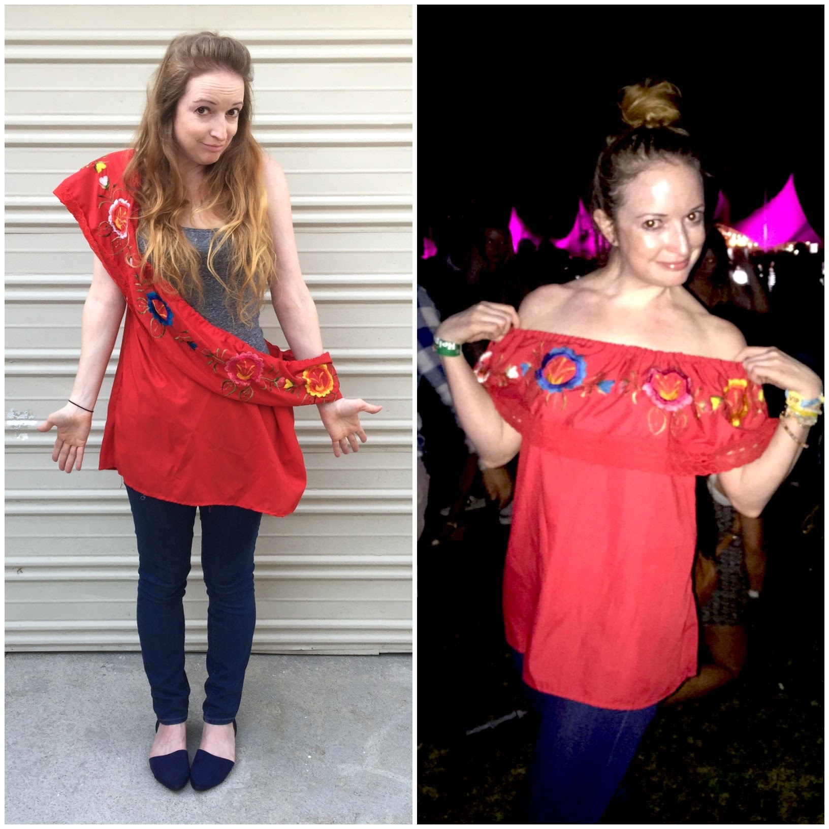 Red Embroidered Top Before/After