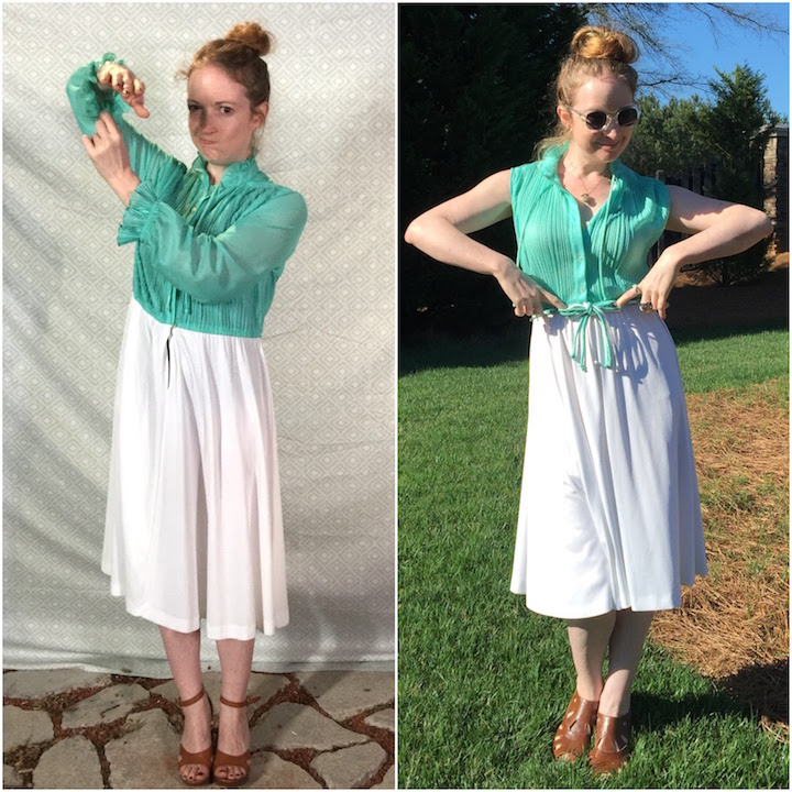 Vintage mint & white dress (Before & After)