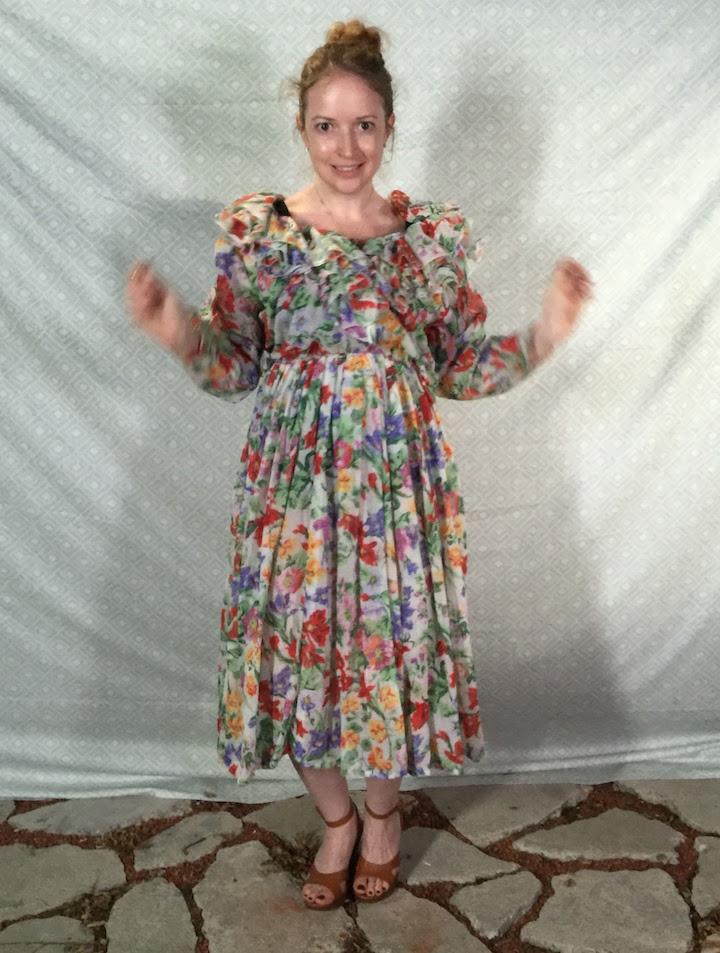 Vintage Ruffle Floral Dress 1