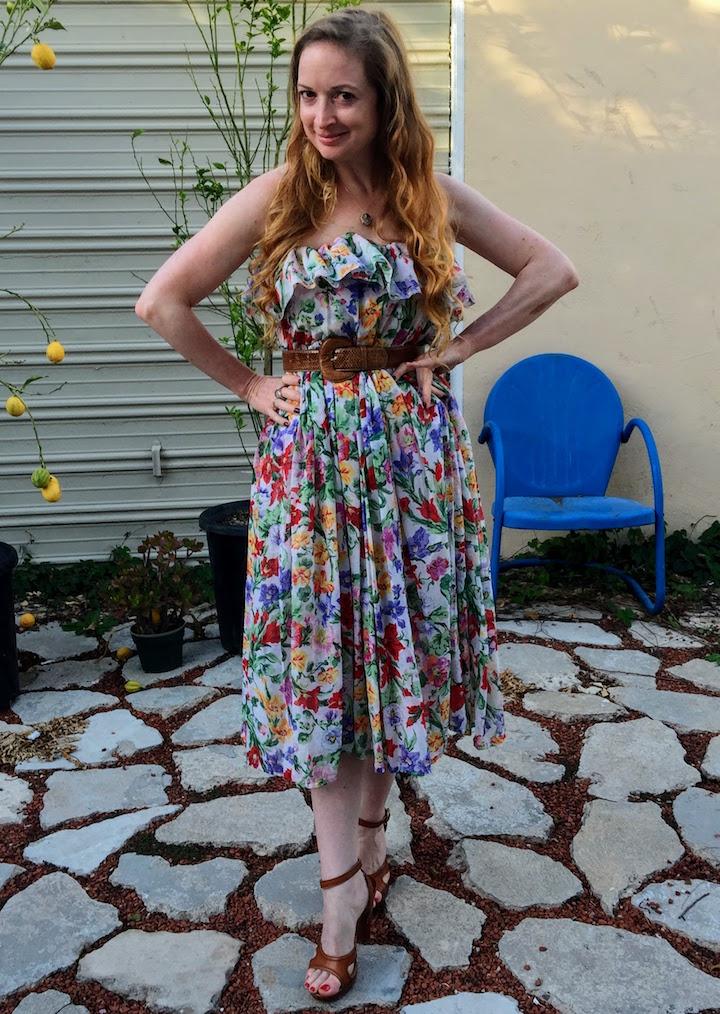 Vintage Floral Ruffle Dress - 19