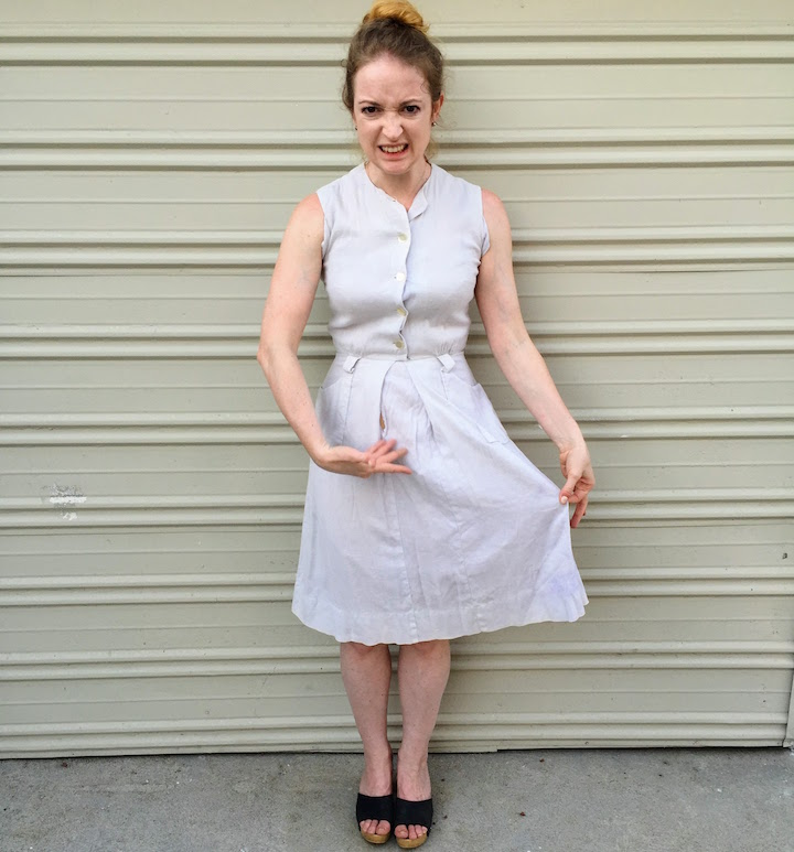Vintage Ivory Button Down Dress 2
