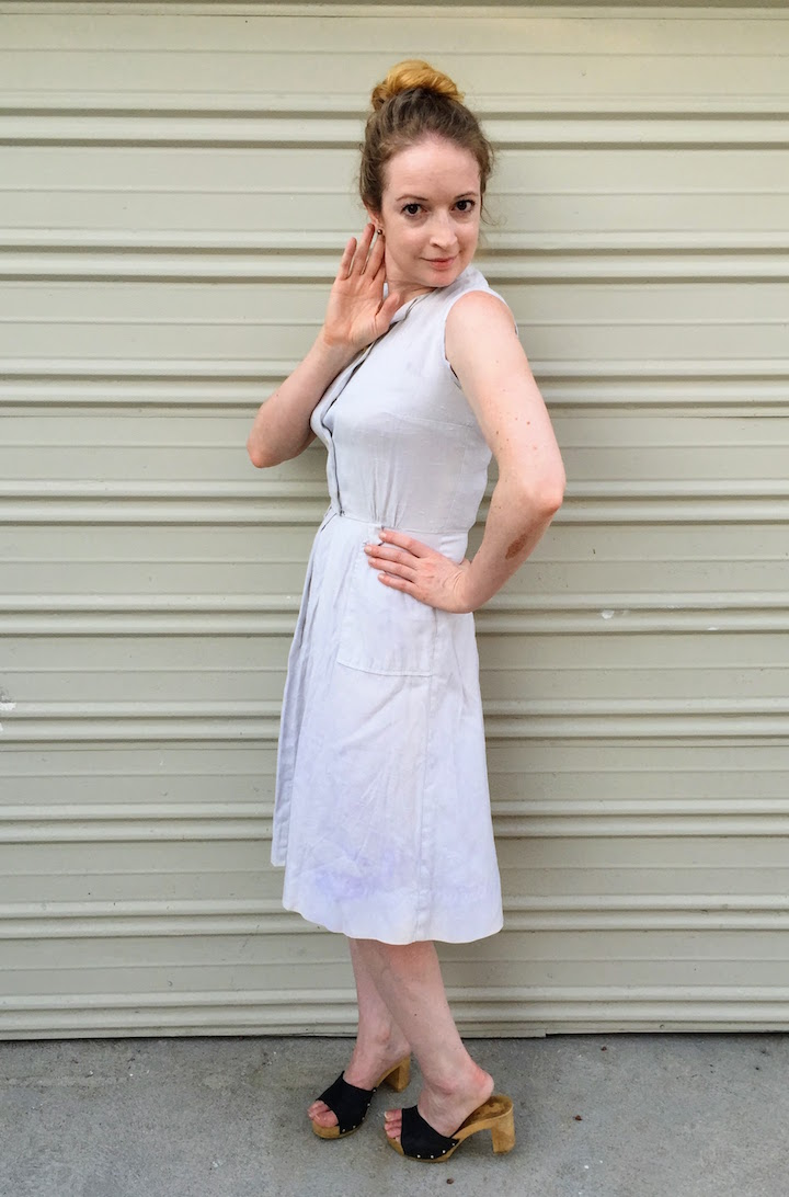 Vintage Ivory Button Down Dress 3