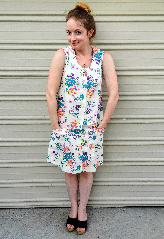 Vintage Neon Floral Housedress - 1