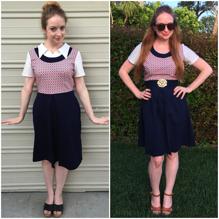 Vintage 60s Navy Dress - Before/After