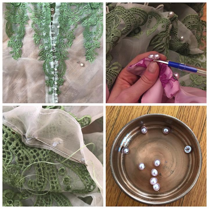 sNDAD - Day 27 - Vintage Wedding Dress Stitching Buttons