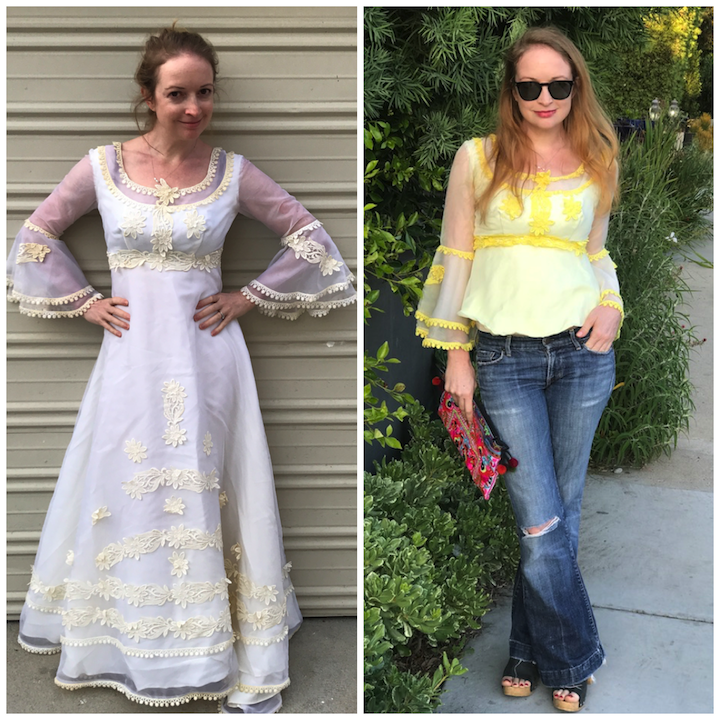 NDAD - Day 22 - Upcycled Wedding Dress Before/After