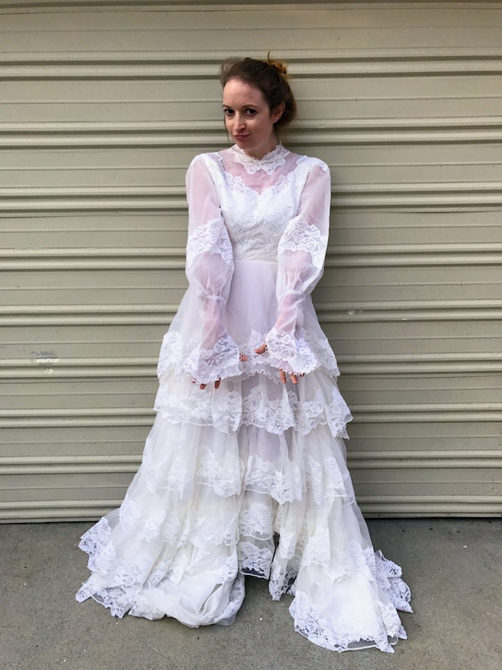 Ruffled Wedding Dress - Before