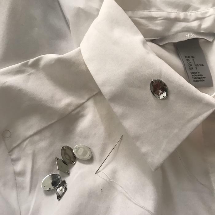 White Collar Shirt with Rhinestones