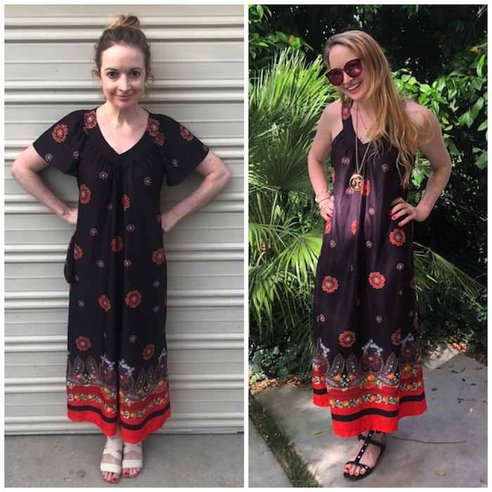 Vintage Red & Black Muumuu Before/After