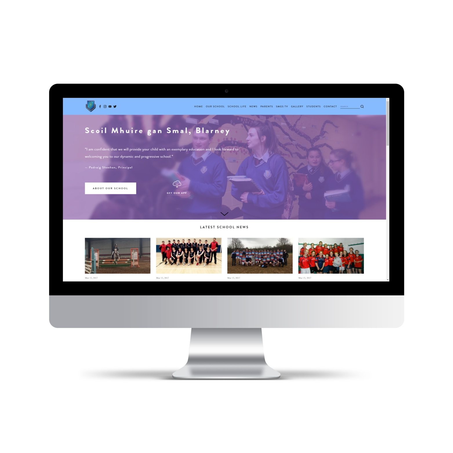 Scoil Mhuire gan Smál, Blarney - website - Adaptive custom website with video background headers, e-news, event calendar, YouTube channel, news & events