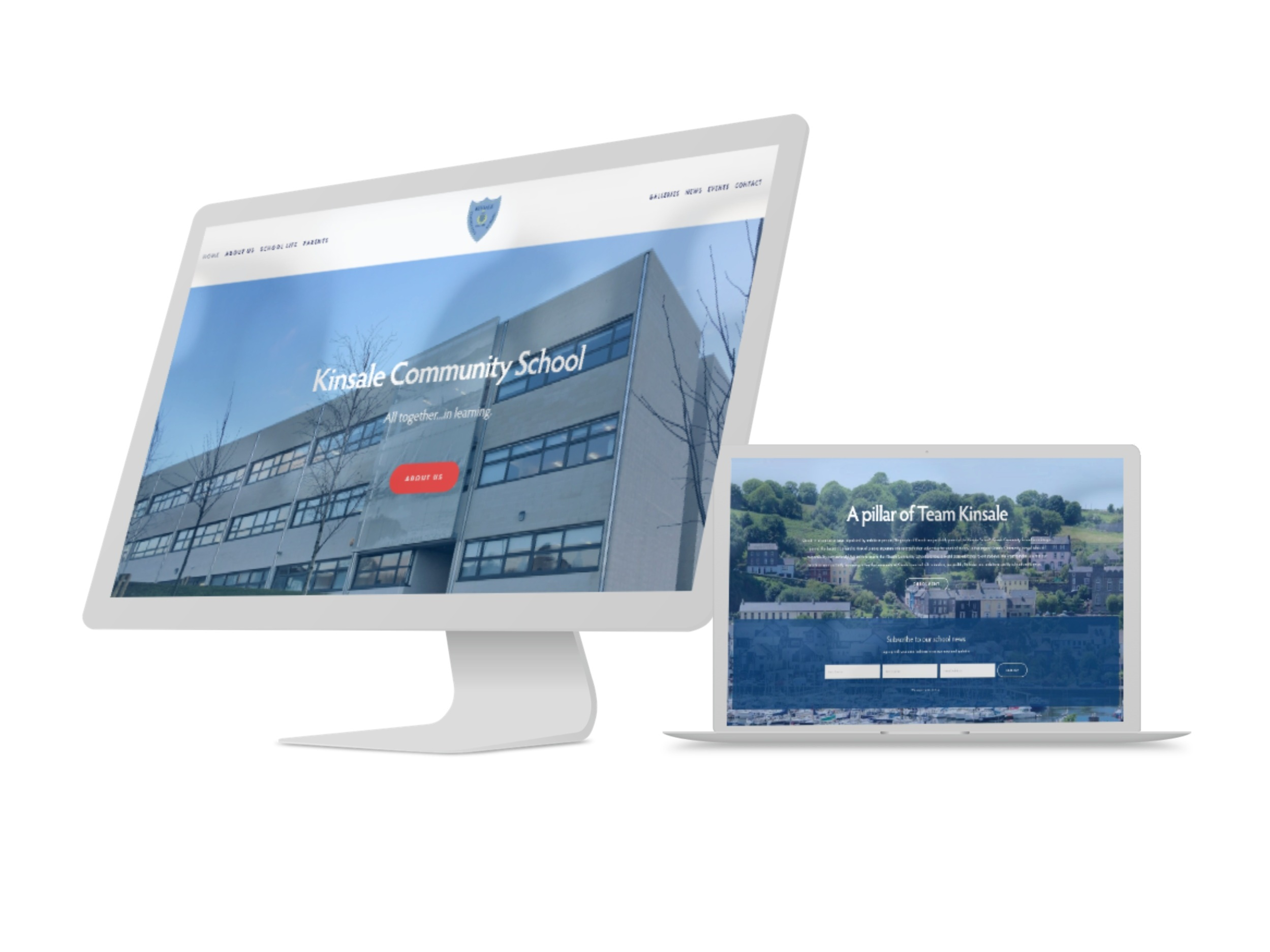 Kinsale CS - website - Adaptive custom website & video production with video background headers, e-news, event calendar, TY news & events