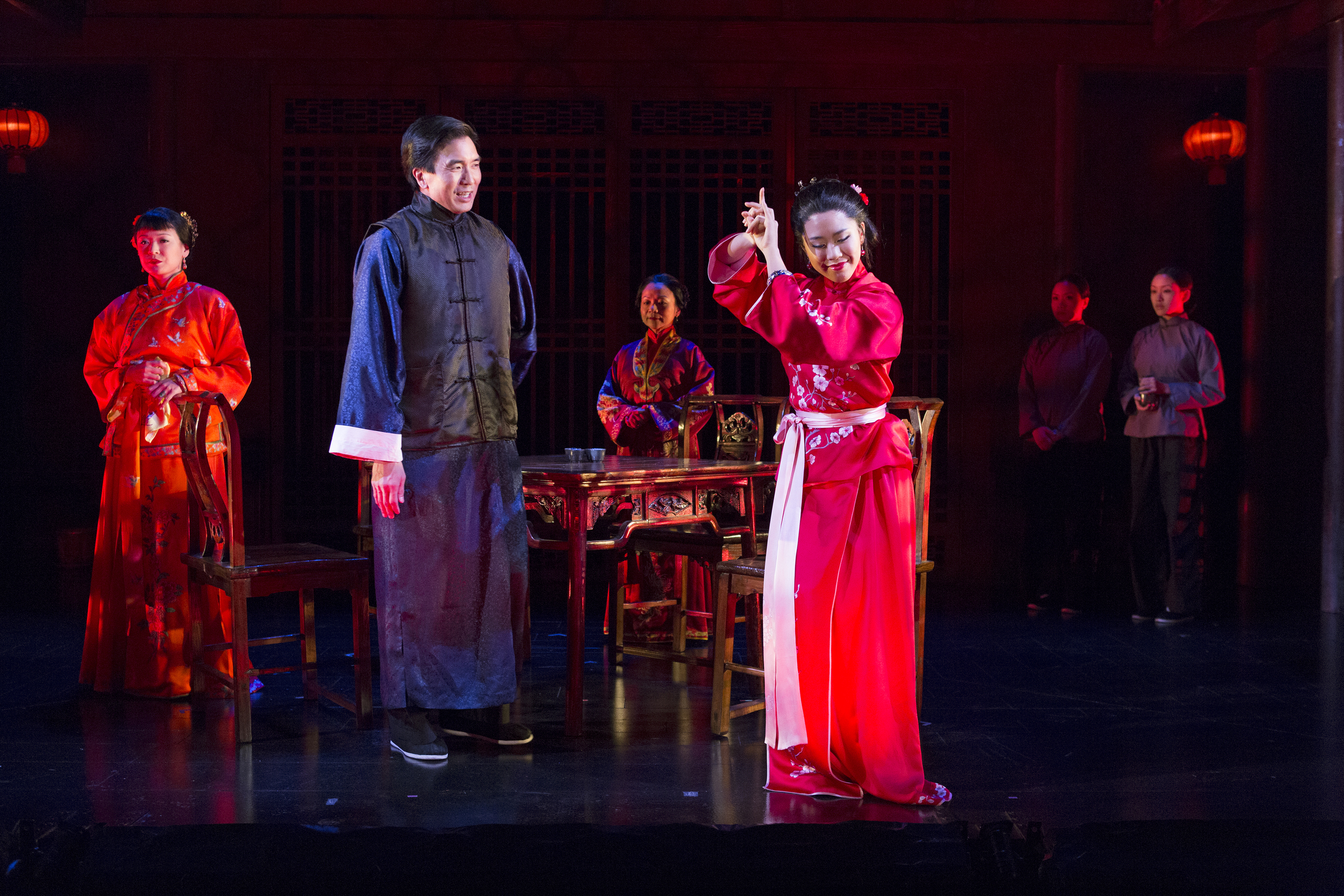 Jennifer Lim, Greg Watanabe, Julyana Soelistyo, Leslie Hu, Tina Chilip, and Nadia Gan. Photo by Richard Termin, Signature Theater Production, 2012