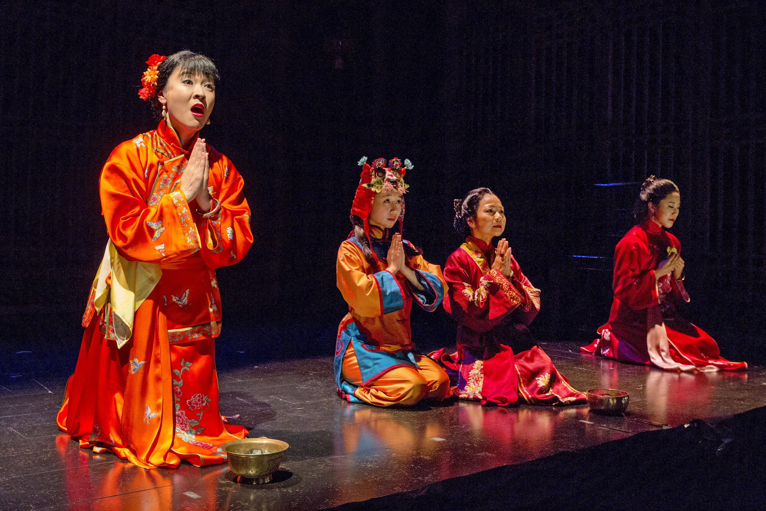 Jennifer Lim, Annie Q, Julyana Soelistyo, and Leslie Hu. Photo by Richard Termin, Signature Theater Production, 2012
