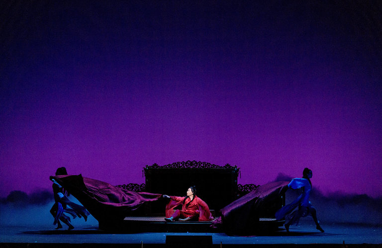 """Yijie Shi, center, during """"Dream of the Red Chamber,"""" at the San Francisco Opera. Credit Jason Henry for The New York Times"""