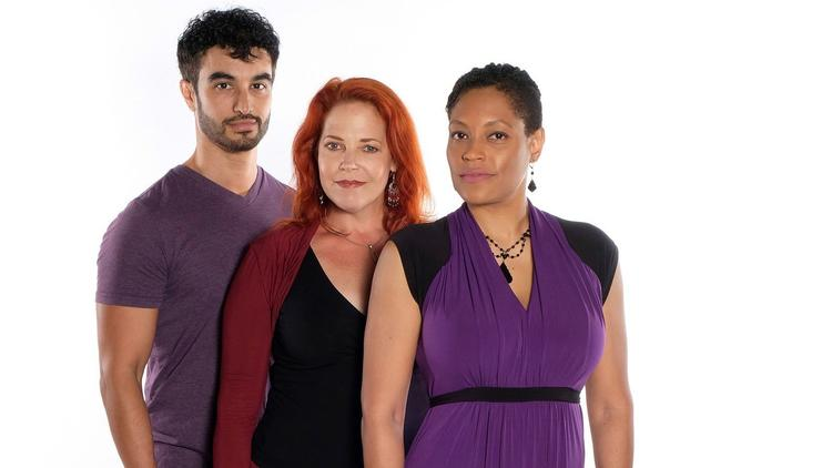 """Richard Bermudez, Bets Malone and Daebreon Poiema (from left) star in Moonlight Stage Productions' """"Aida."""" (Ken Jacques)"""