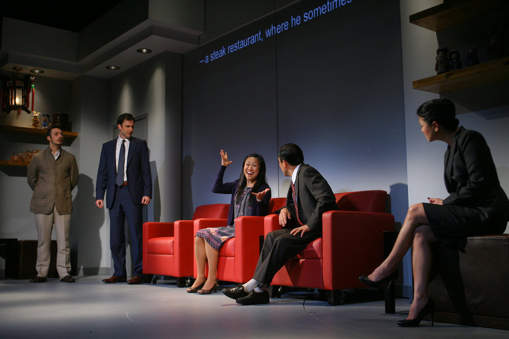(l to r) Stephen Pucci, James Waterston, Angela Lin, Larry Zhang, Jennifer Lim. Photo by Eric Y. Exit for the Goodman Theatre, 2011