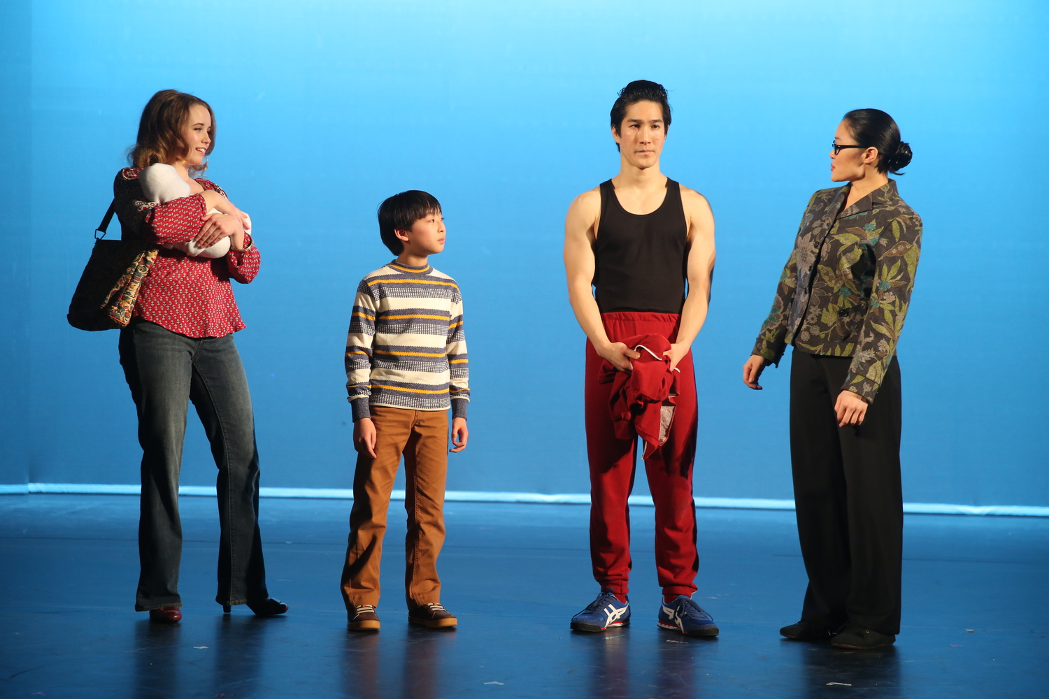 Phoebe Strole, Bradley Fong, Cole Horibe, and Kristin Faith Oei. Photo by Joan Marcus for Signature Theatre, 2014