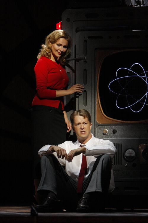 Ruxandra Donose as Veronica Quaife and Daniel Okulitch as Seth Brundle in The Fly Photo by Robert Millard for the Los Angeles Opera, 2008