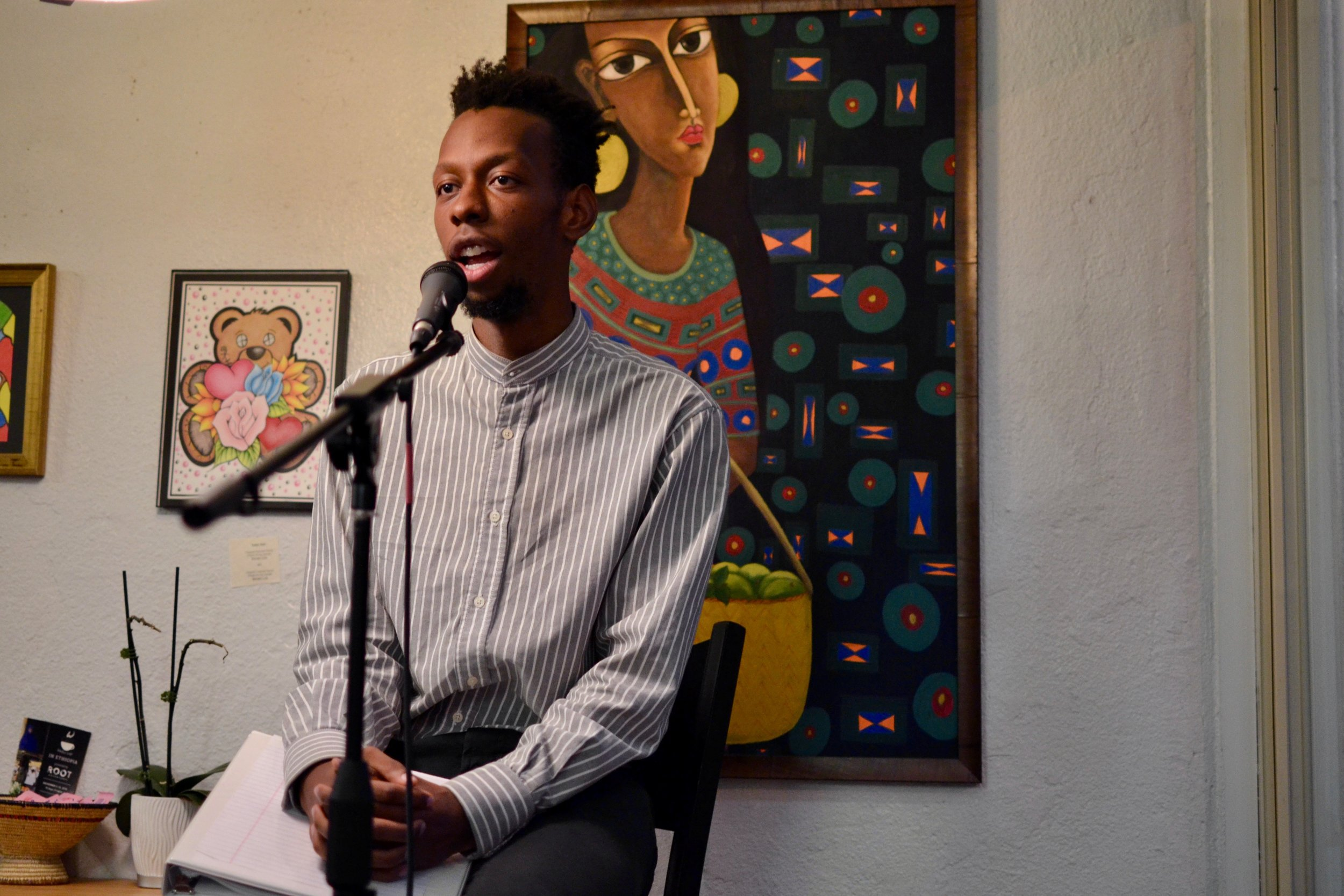 Brenton Weyi at Stain'd Arts Open Mic, 2018 Photographer, Delia LaJeunesse