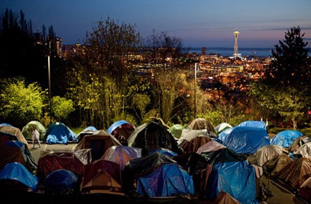 "Seattle: Homeless ""tent city."""