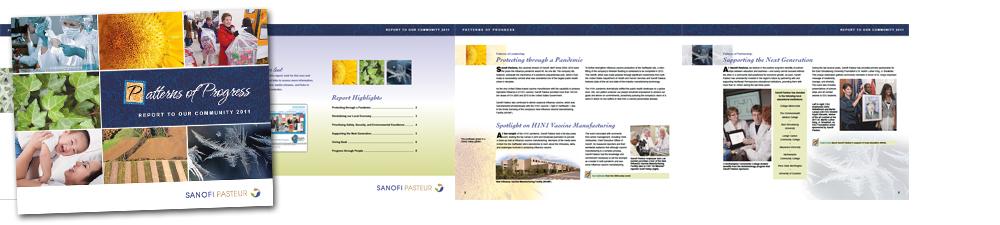 Graphic design for Sanofi Pasteur community report by Rob Stiene